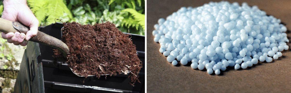 Лопата компоста и горстка азотного удобрения