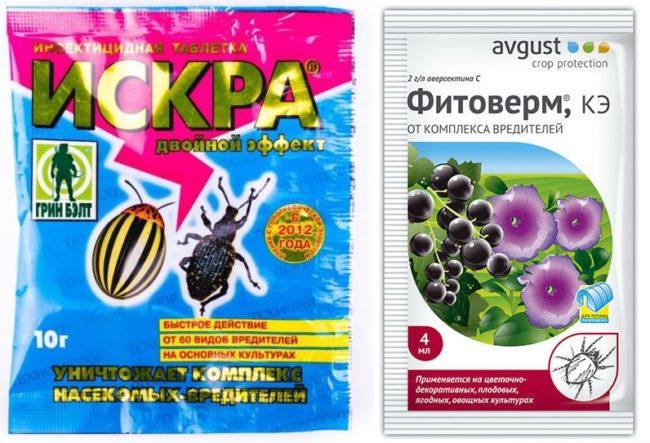 Препараты искра и Фитоверм для борьбы с долгоносиком на клубнике
