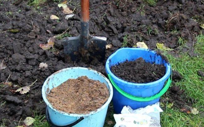 Два ведра со смесями и лопата в земле
