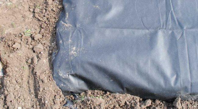 Закрепление агроволокна по краям с помощью грунта