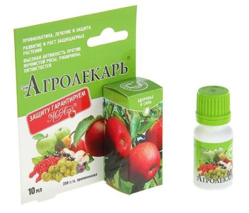 Флакон и упаковка фунгицида Агролекарь, используемого для лечения болезней клубники