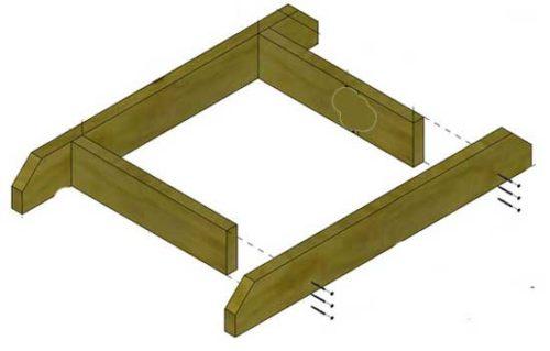 Чертеж деталей деревянной пирамиды для клубники