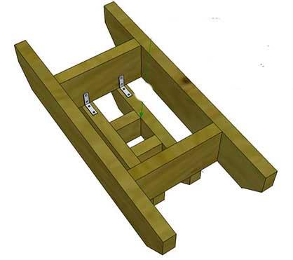 Узел соединения ярусов деревянной пирамиды для клубники