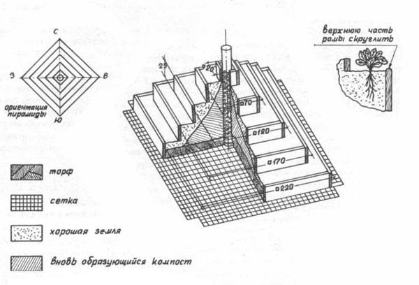Чертеж пирамиды из досок для клубники