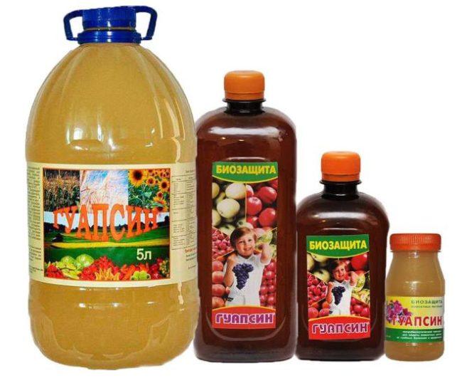 Водный раствор биологического средства Гуапсин в бутылках различной емкости