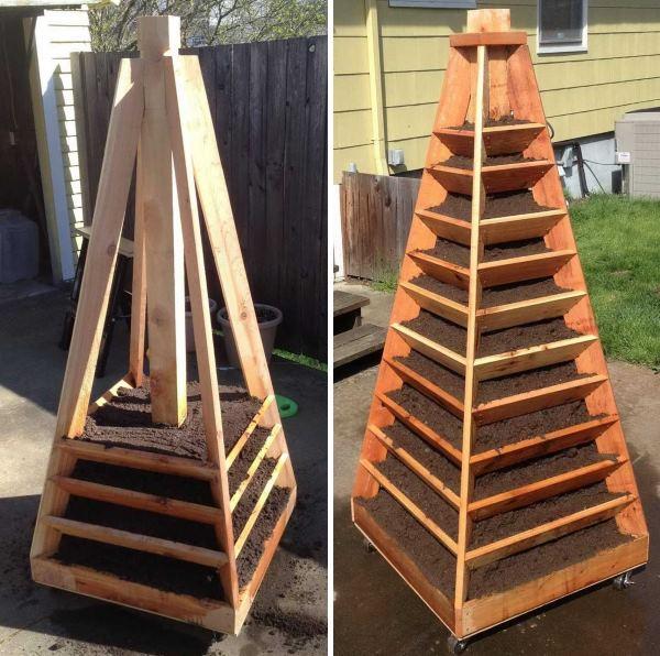Многоярусная вертикальная грядка для клубники из древесины