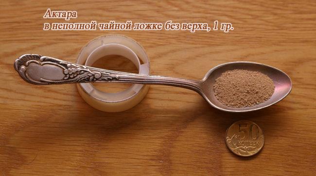 Чайная ложка с порошком препарата Актара