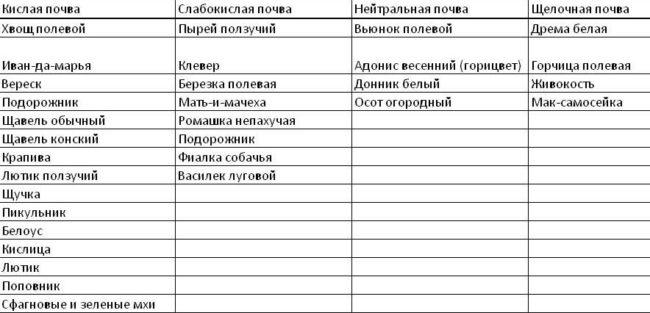 Таблица определения кислотности почвы по растениям