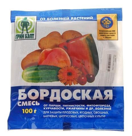 Стограммовый пакетик бордоской смеси для лечения грибковых болезней растений