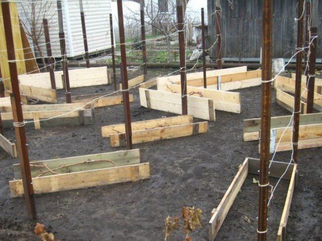 Коробы из досок для создание воздухопроницаемого зимнего укрытия для винограда
