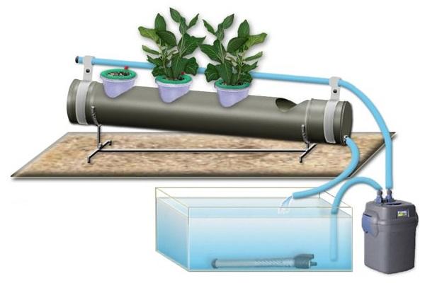 Схема выращивания растений на гидропонике в горизонтальных трубах
