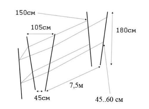 Схема и размеры двухплосткостной V-образной шпалеры для винограда
