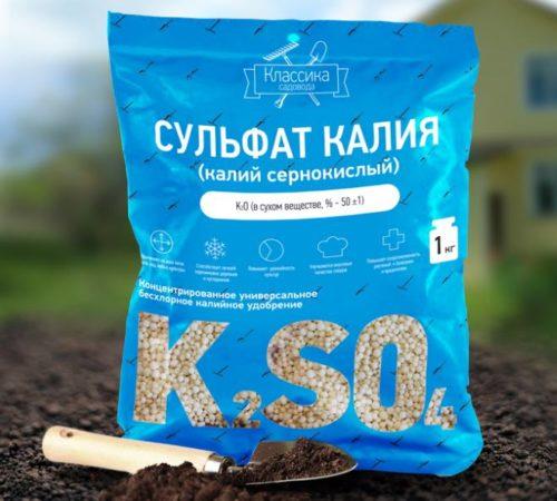 Пакет сульфата калия весом в 1 кг для внесения под крыжовник