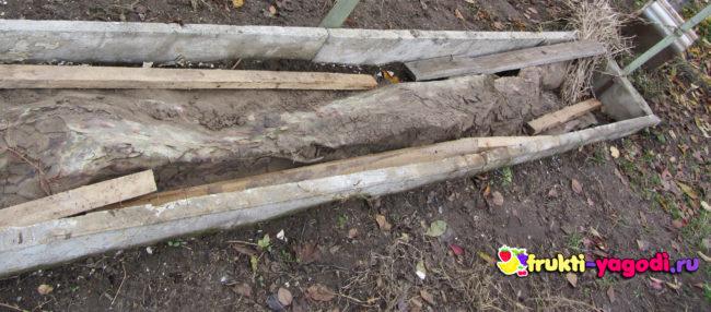 Укрытие винограда на зиму строительным мусором