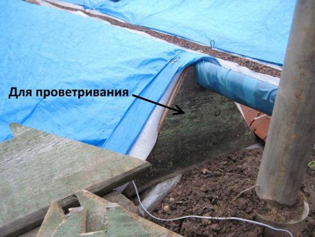 Зимнее укрытие виноградной лозы с боковой крышкой для проветривания