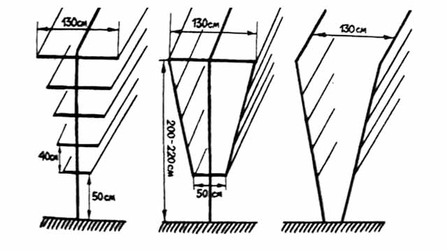 Схемы двухрядных шпалер для выращивания высокоурожайного винограда с сильным ростом побегов