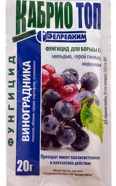 Пакетик с фунгицидом Кабрио Топ для обработки винограда от грибковых заболеваний