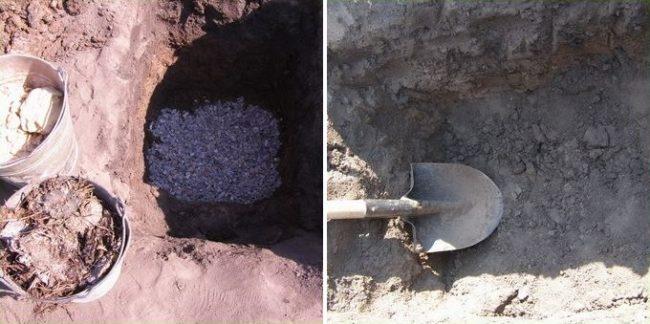 Устройство дренажного слоя в посадочной яме для винограда