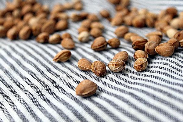 Светло-коричневые и слегка подсушенные косточки черешни на полосатой материи
