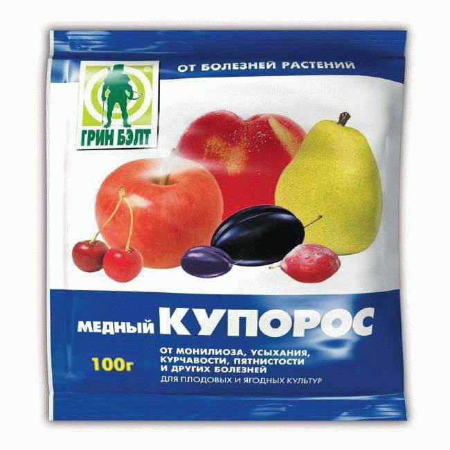 Пакет медного купороса массой 100 грамм для обработки садового винограда от комплекса заболеваний