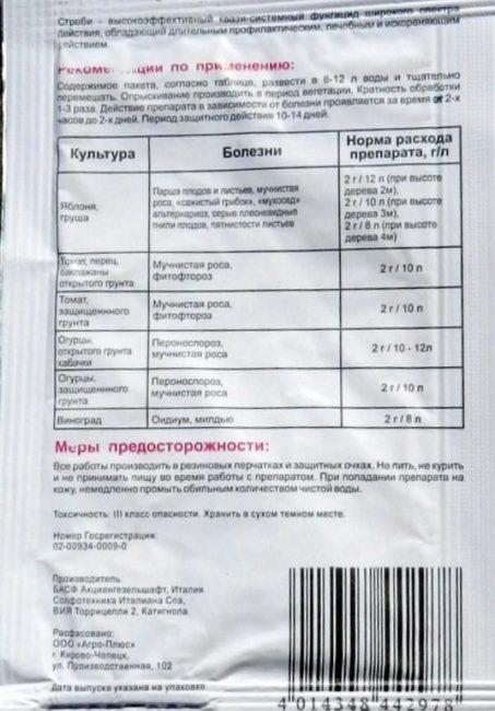 Обратная сторона пакета с препаратом Строби