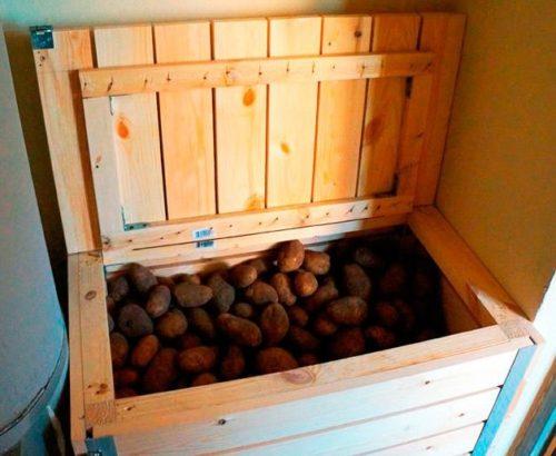 Хранение картофеля в деревянном ящике на балконе городской кварттиры