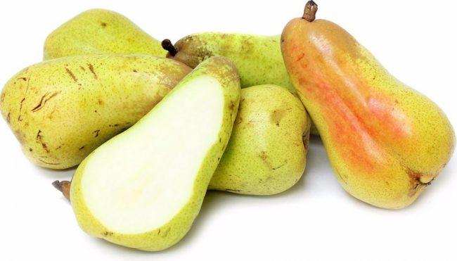 Фото плодов и мякоти груши французского сорта Аббат Фетель