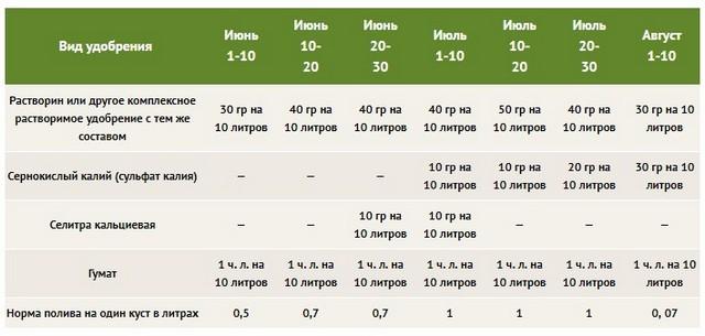 Нормы внесения удобрений под помидоры с июня по август