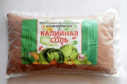 Пакет соли калийной для внесения под плодовые деревья в частном саду