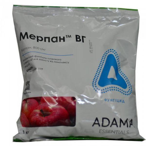 Пакет с фунгицидом Мерпан ВГ для лечения парши на груше