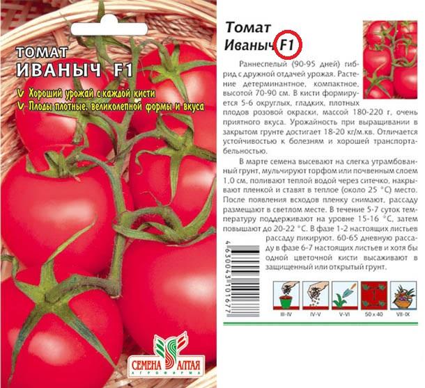 Пакет с семенами гибридного сорта томата Иваныч F1
