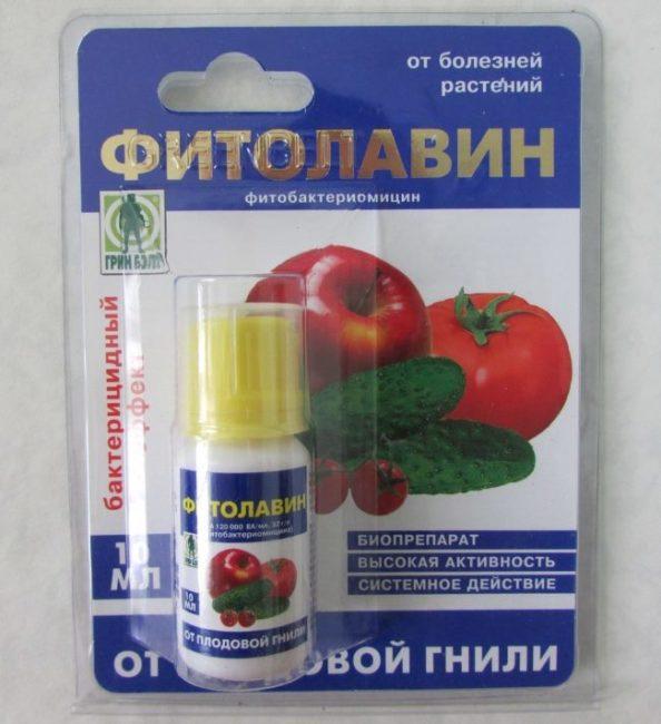 Упаковка с препратом Фитолавин для лечения и профилактики бактериоза томатов