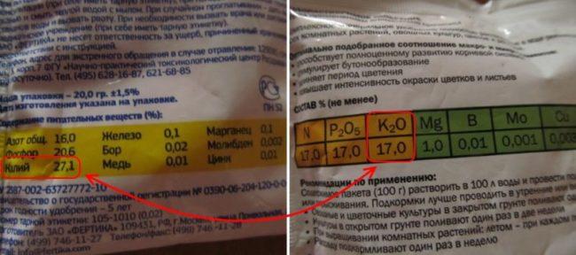 Содержание солей калия в удобрениях для помидоры