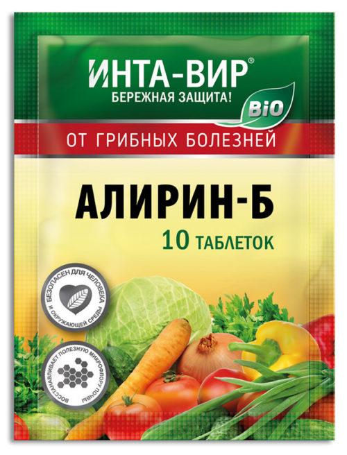 Пакет с 10 таблетками препарата Алирин-Б от грибных болезней