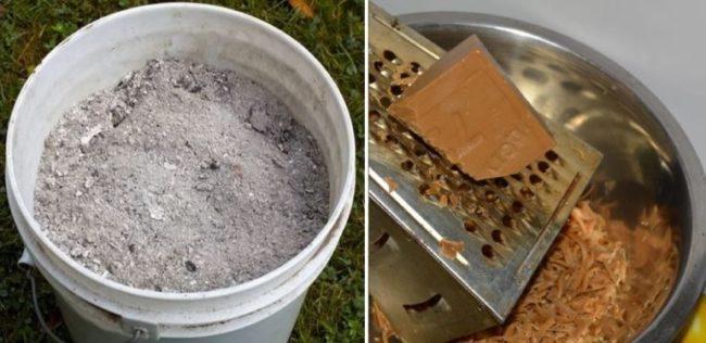 Ведро золы и стружка хозяйственного мыла для приготовления раствора от тли