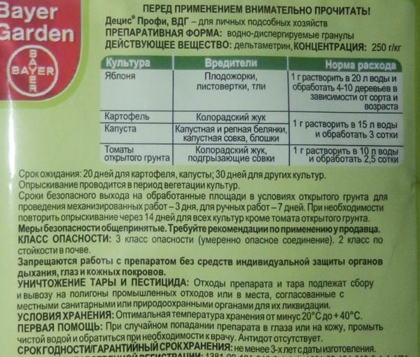 Инструкция по использование препарата Децис Профи для обработки яблони