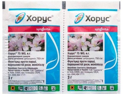 Два пакетика с препаратом Хорус 75 WG для лечения альтернариоза яблони