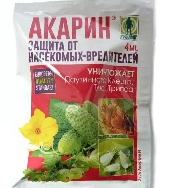 Пакет с препаратом биологического происхождения Акарин для борьбы с паутинным клещом на яблонях