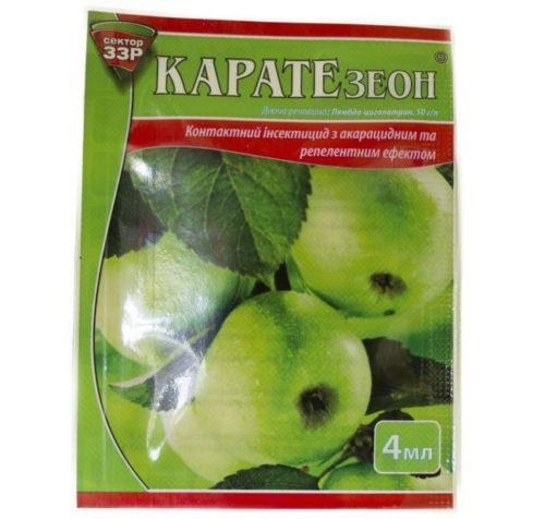 Пакетик с препаратом Каратэ_зеон для обработки яблони от паутинного клеща