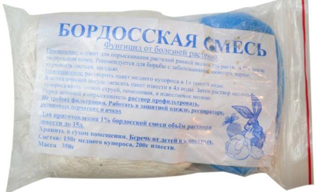 Полиэтиленовый пакет с бордоской смесью для опрыскивания яблони