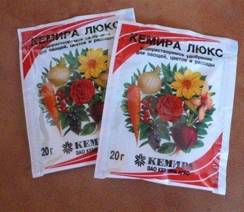Два небольших пакетика с комплексным удобрением Кемира Люкс для сада