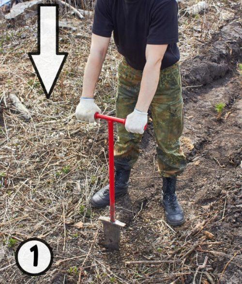 Практическое использования меча Колесова для создания щелей в земле