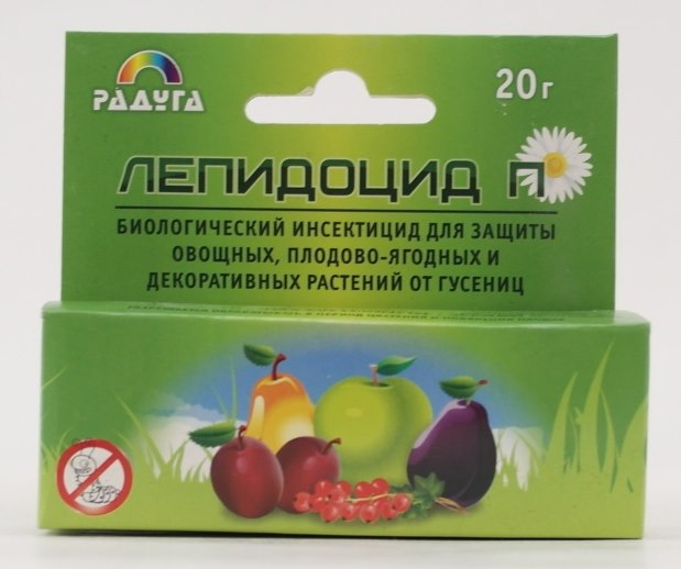 Упаковка с биологическим инсектицидом Лепидоцид для обработки яблони