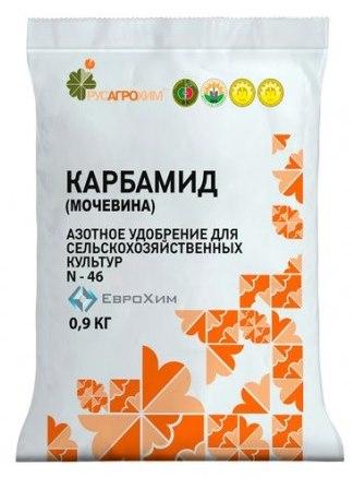 Пакет весом менее 1 кг с мочевиной для подкормки плодовых деревьев