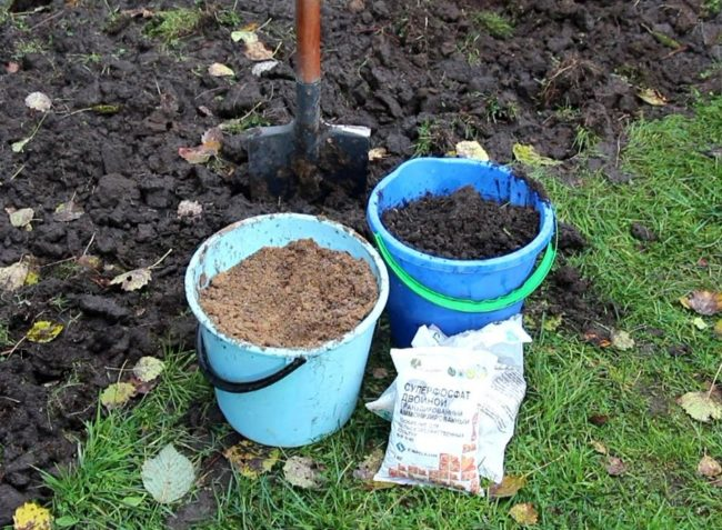 Ведра с органической подкормкой и пакеты с минеральным удобрением