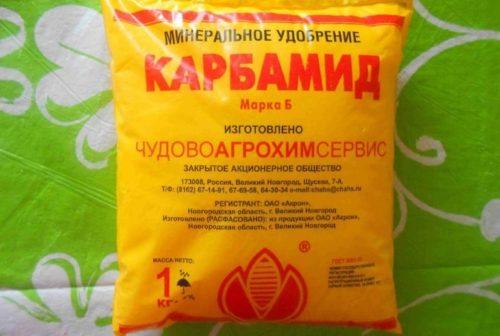 Желтый пакет с карбамидом для подкормки сливы в период плодоношения