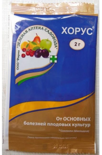 Пакетик с гранулами препарата Хорус для лечения основных болезней сливы