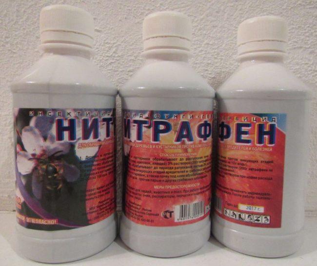Три пластиковых флакона с препаратом Нитрафке для обработки веток сливы ранней весной