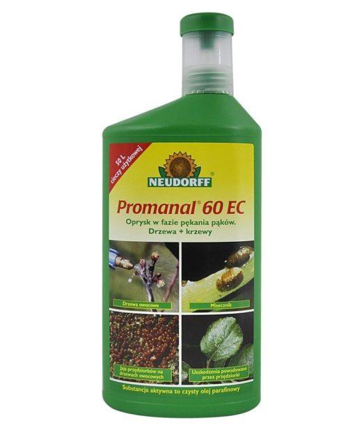 Зеленый флакон с препаратом PROMANAL 60 EC для весенней обработки яблони от ложнощитовки