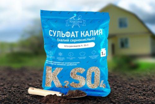 Синий пакет с сульфатом калия для подкормки сливы ранней весной
